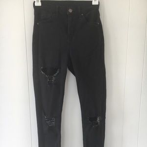 High rise Topshop distressed jeans